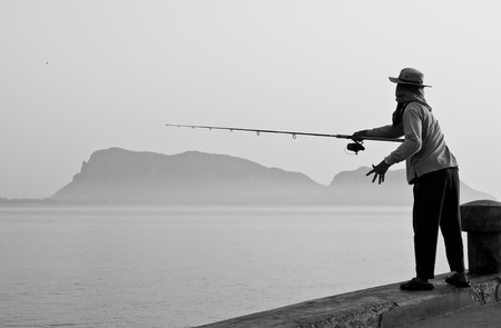 Fishing at sea in Black and white  photo