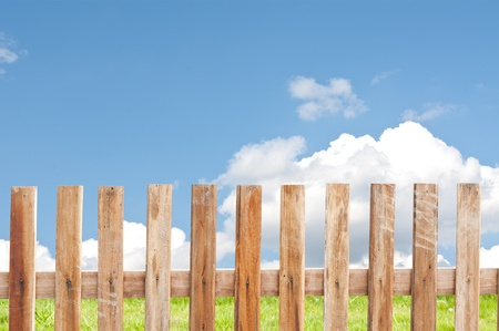 wooden fence with sky background  photo