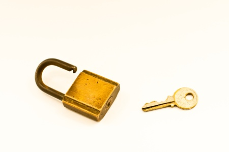 Lock with keys on a white background  photo