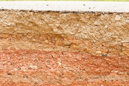 mud wall: Beneath the asphalt  Layer of soil beneath the asphalt road   Stock Photo
