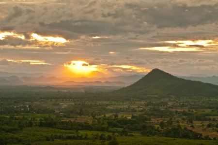 sunset in the mountains, Thailand Stock Photo - 14169172