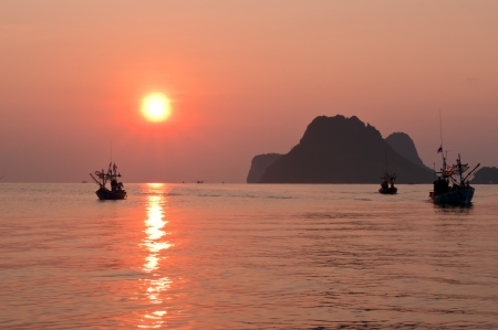 Beautiful sunset in the sea  Thailand  photo