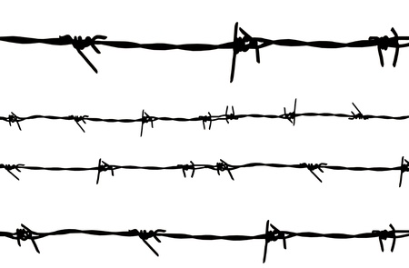barb wire: Silhouetted barbed wire on white background