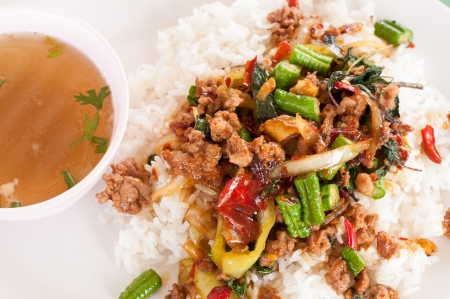 Thai Basil Fried Rice with pork  photo