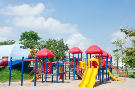 Modern children playground in park Stock Photo - 15392749