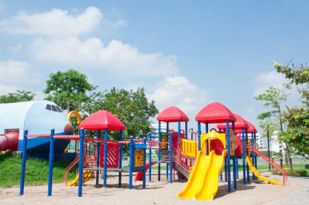 Modern children playground in park Stock Photo - 15392749
