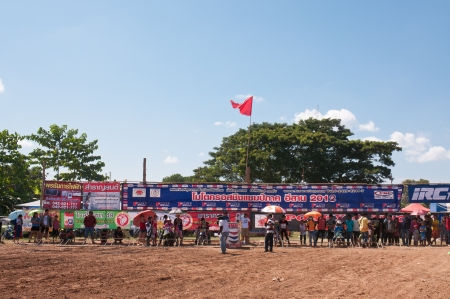 supercross: CHIANGKHAN, THAILAND - OCTOBER 28: Unidentified riders participate in competition Supercross Championship of Thailand, on October 28, 2012 in Chiangkhan,Loei,Thailand