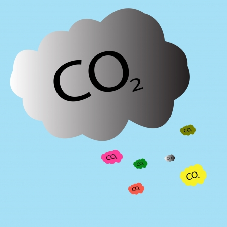 steam mouth: Carbon dioxide symbol - CO2