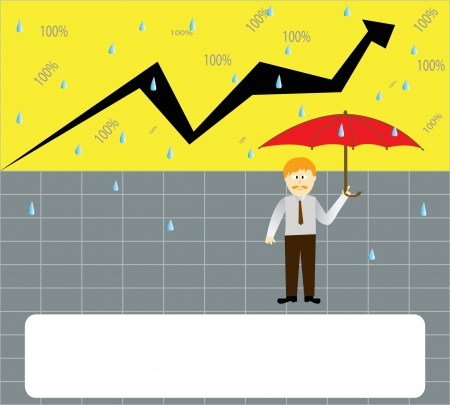 businessman hold a red umbrella  under rain of money   Vector