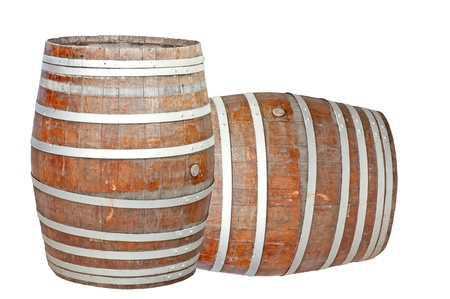 two wine barrels isolated on the white background photo