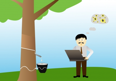 Businessman and rubber tree