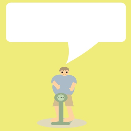Overweight man on a Scale, vector illustration Vector