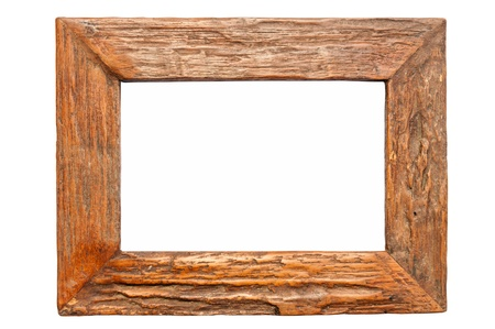 Wood frame isolated on white  photo