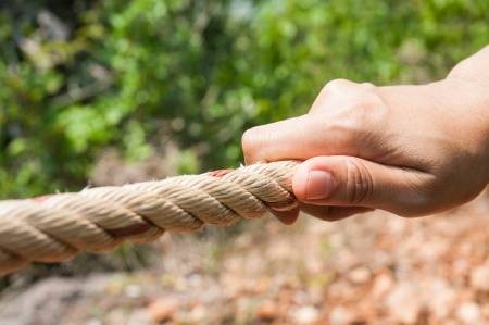 Hand Pulling Rope Stock Photo - 18172714