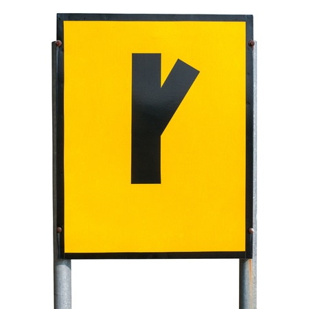 dissuade: Angled side road right Sign isolated on a white background