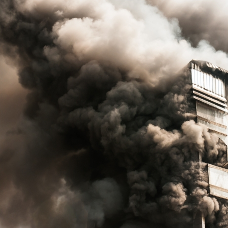 house on fire: Apartment building on Fire