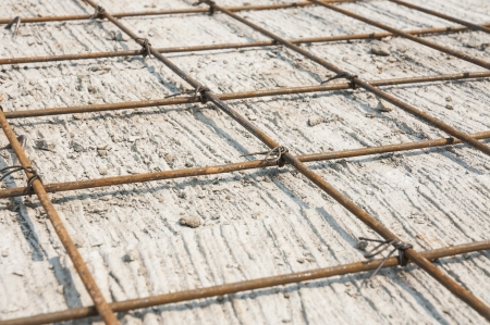 gridwork: rebar gridwork across a floor for strength  Stock Photo