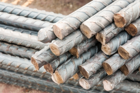strenghten: Steel rods or bars used to reinforce concrete  Stock Photo