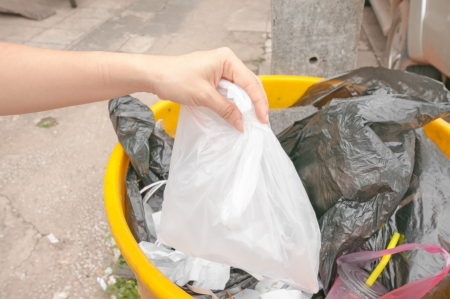 Hand and full trash bin photo