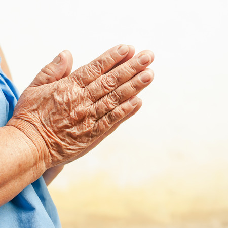 Hands of the old woman , focus on hands