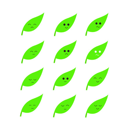 Emotion cartoon green Leaves  Vector