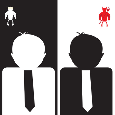 ethics and morals: Shoulder angel and devil, businessman