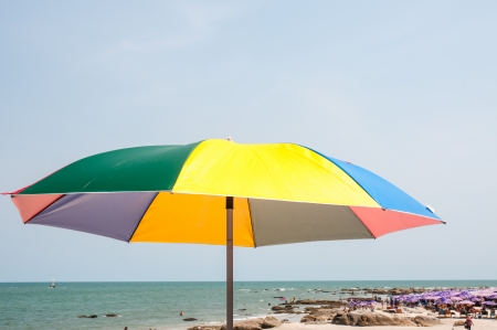 parasol  on tropical beach in Thailand photo