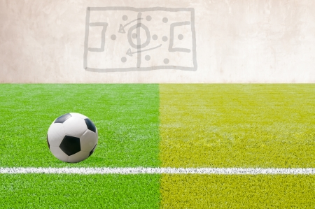 Soccer ball on artificial Soccer Field with a game plan  photo