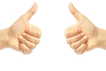 Woman hand with thumb up isolated on white background Stock Photo - 23982030