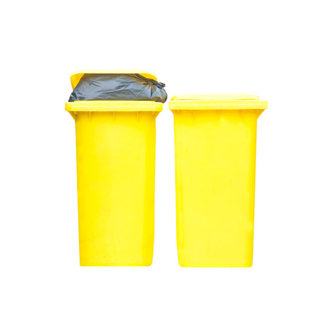 segregate: Large yellow trash can (garbage bin) with wheel, isolated on white background
