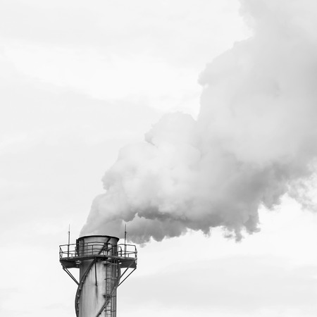 Black and white,Dirty smoke on the sky, ecology problems