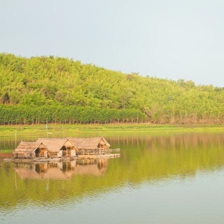 Raft houses on the lake, Thailand photo