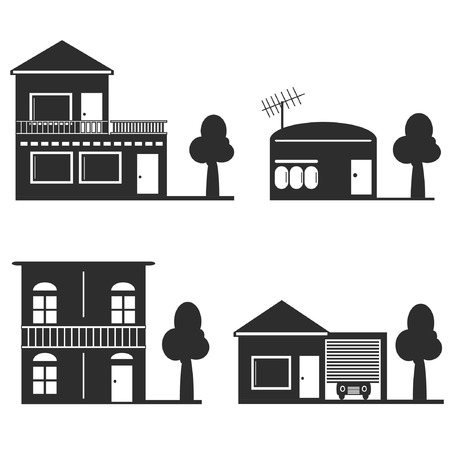 realstate: house silhouettes on white background