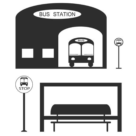 Vector Illustration  Bus station Public transportation Vector