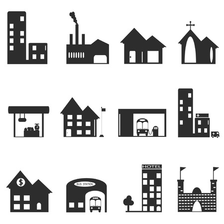 Vector, Building icons set of places Vector