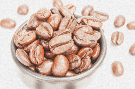 oil painting technique made on a computer, painting of coffee beans in oil technique made on a computer photo