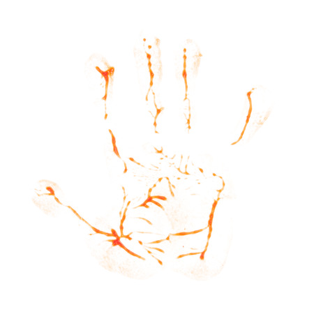 agonizing: Hand print ketchup isolated on white background.