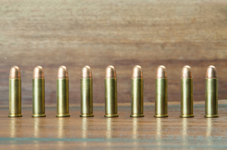 concealed: 9mm bullets Stock Photo