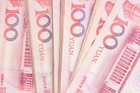 yuan: 100 Yuan, Chinese money yuan banknote close-up