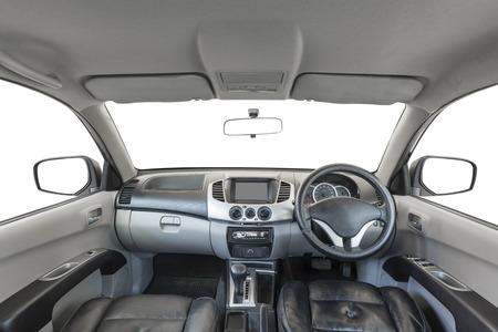白い背景で隔離の車のインテリア 写真素材