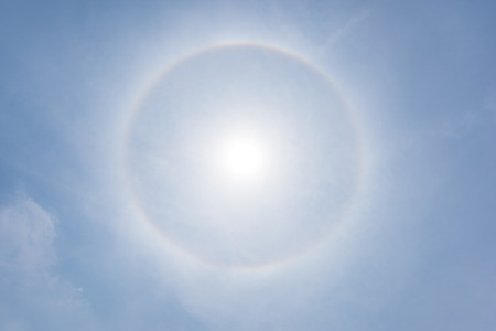 halo: Corona, fantastic beautiful sun halo phenomenon Stock Photo