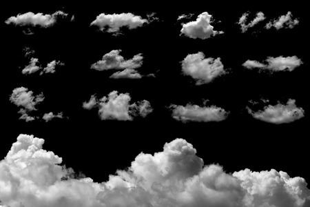 Set of isolated clouds on black background.