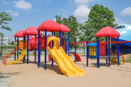 playground equipment: Modern children playground in park Stock Photo
