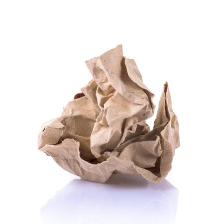 ball lump: Crumpled paper on white  Stock Photo