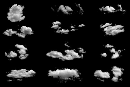 cloud shape: Set of isolated clouds on black .