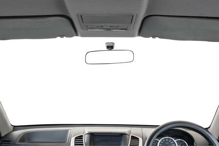 asiento coche: Interior del coche aislado en el fondo blanco