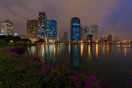 city park skyline: Bangkok city with park at night with reflection of skyline, Bangkok,Thailand