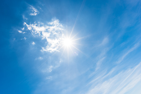 cumulus: Sun, blue sky Stock Photo