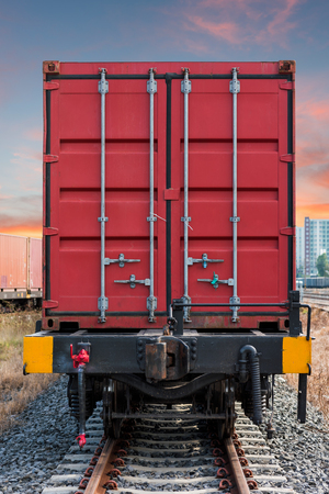 flatcar: container trains Stock Photo