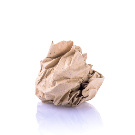crumpled paper: Crumpled paper on white background Stock Photo